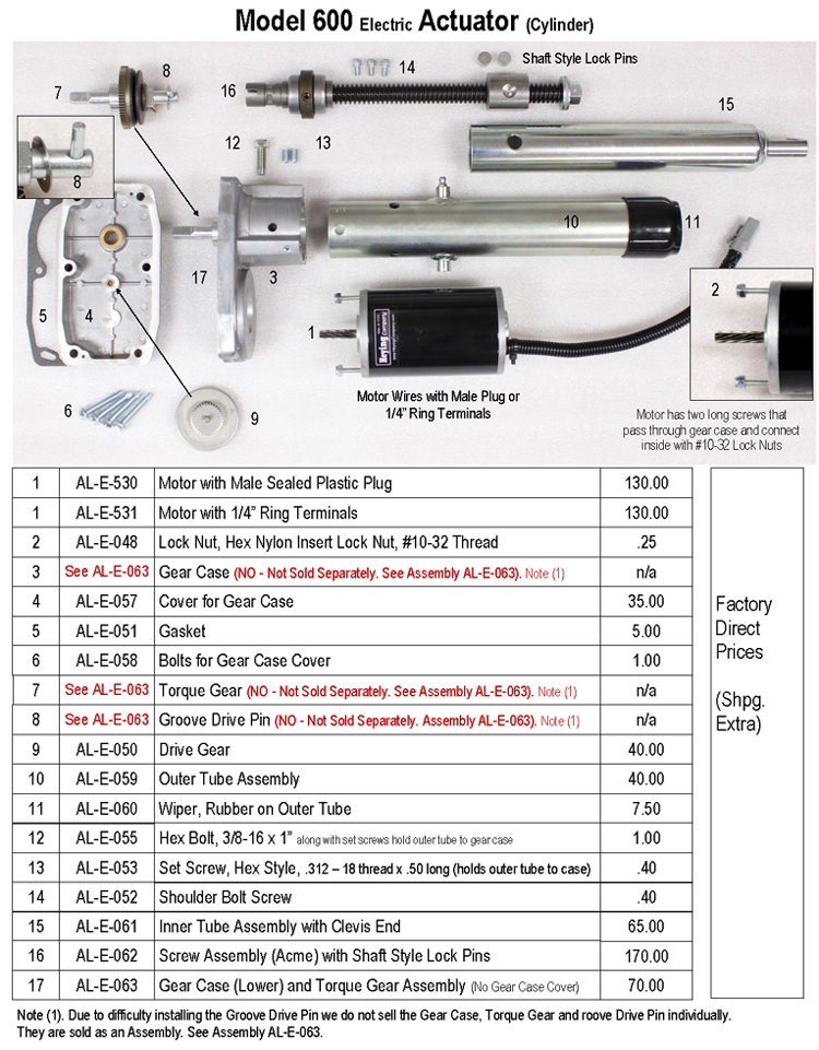 Actuator Model 600 Parts and Pricing,100dpi